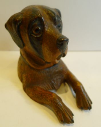 charming antique novelty black forest inkwell dog c1890