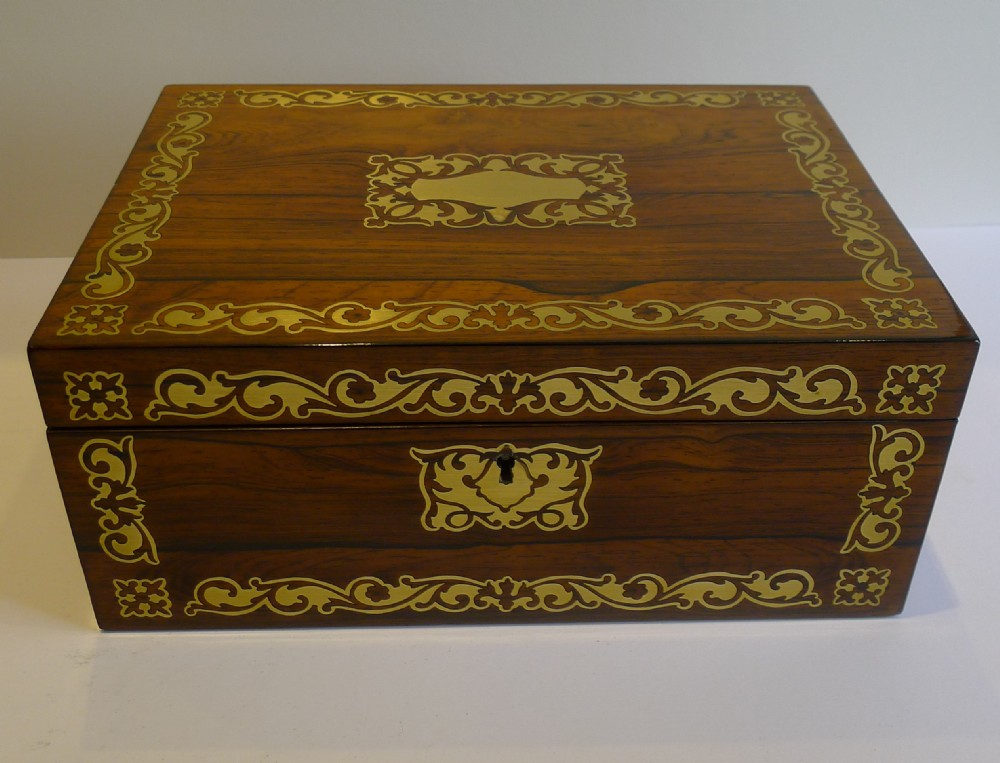 english regency jewelry or desk box cut brass inlaid c1820