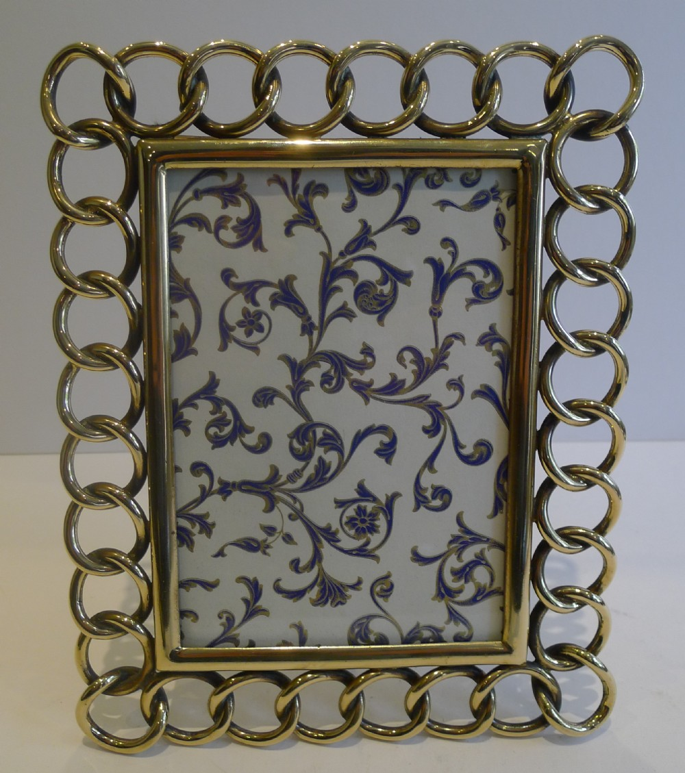 heavy cast antique english brass wedding ring photograph frame c1890