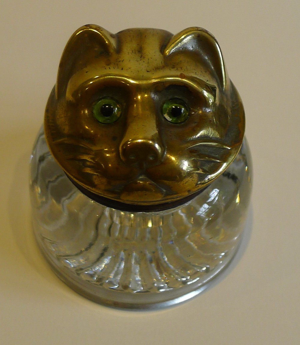 fabulous antique english glass brass cat inkwell original glass eyes
