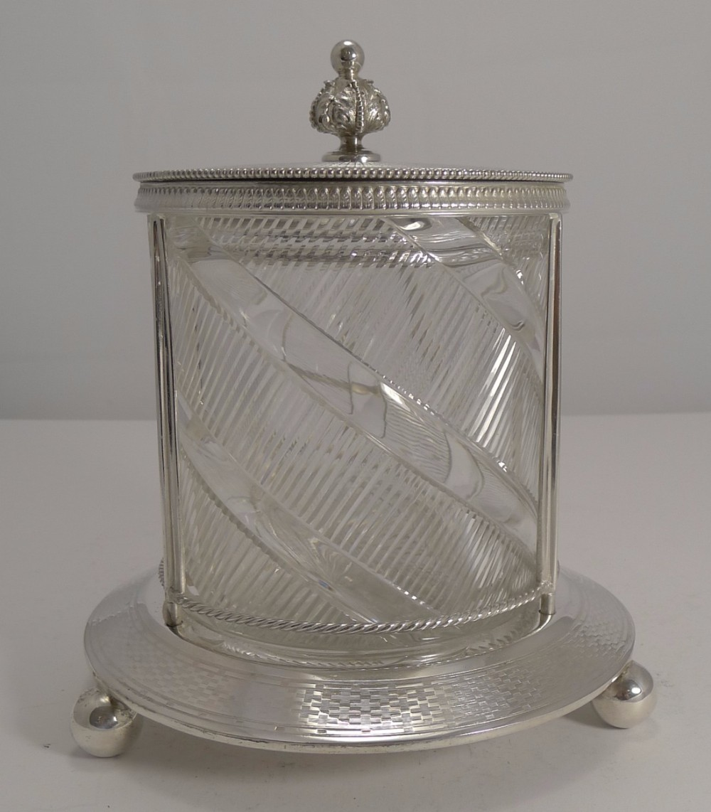top notch antique english silver plate and cut crystal biscuit box c1880
