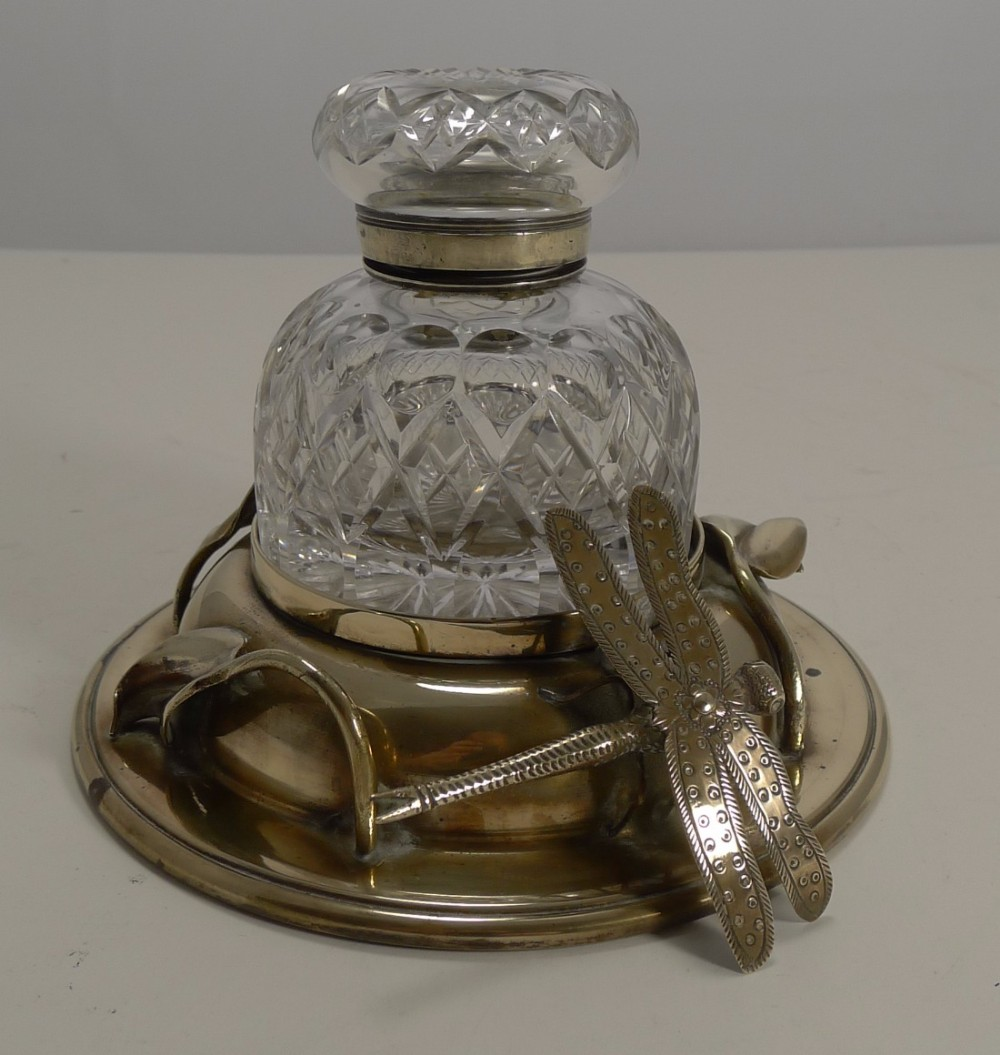 rare antique english art nouveau inkwell dragonfly c1890