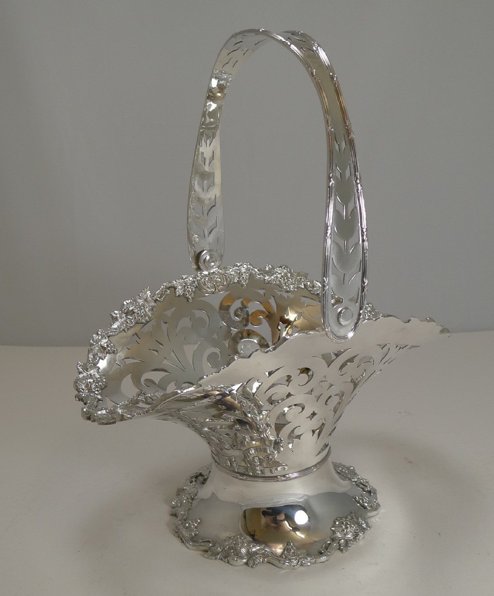 stunning antique english reticulated silver plate fruit basket c1900