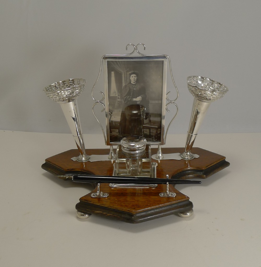rare antique english inkwell with photograph frame and posy vases