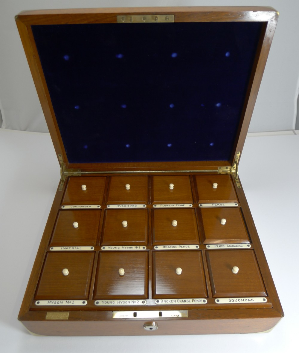 rare brass bound military style tea sample box caddy by chapman son co london