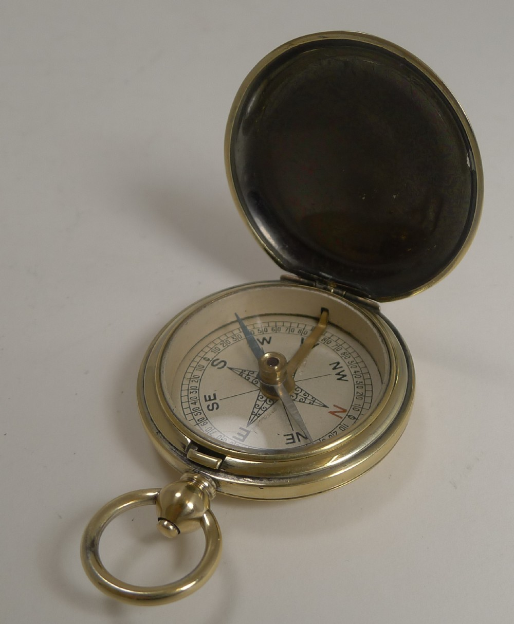 antique english pocket watch style compass c1900