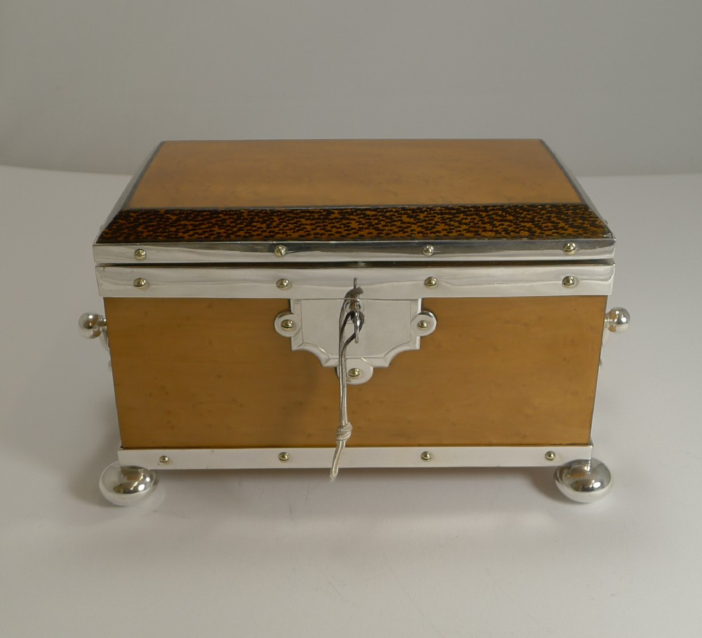 rare silver plated mounted birdseye maple and palm wood tea caddy c1890