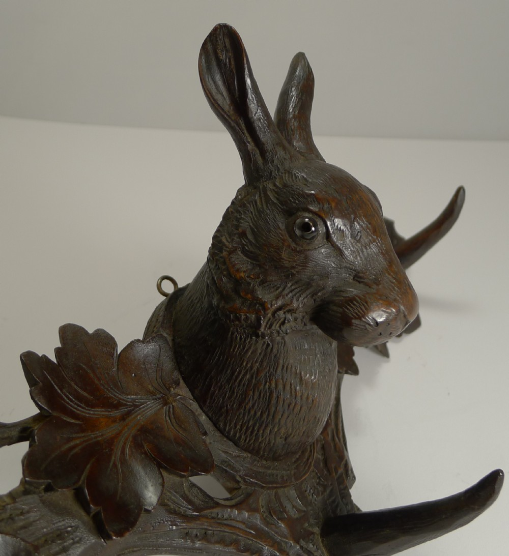 rare black forest hare rabbit wall rack c1890