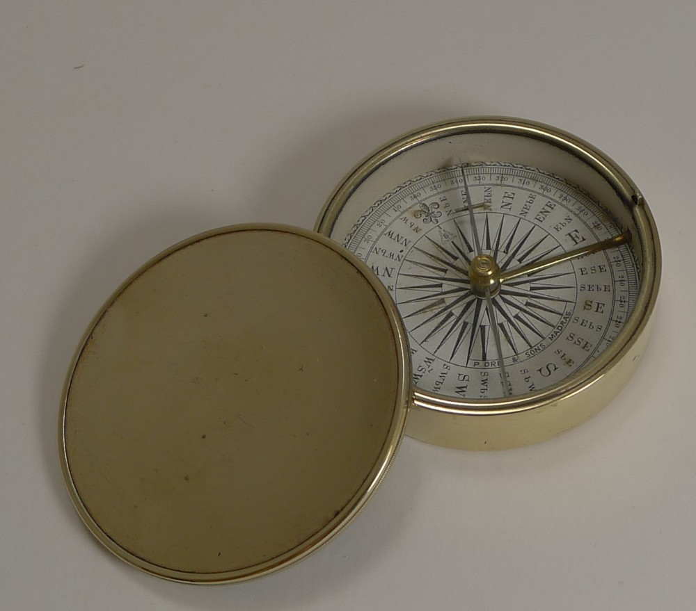 english made brass cased explorers compass for peter orr madras c1880