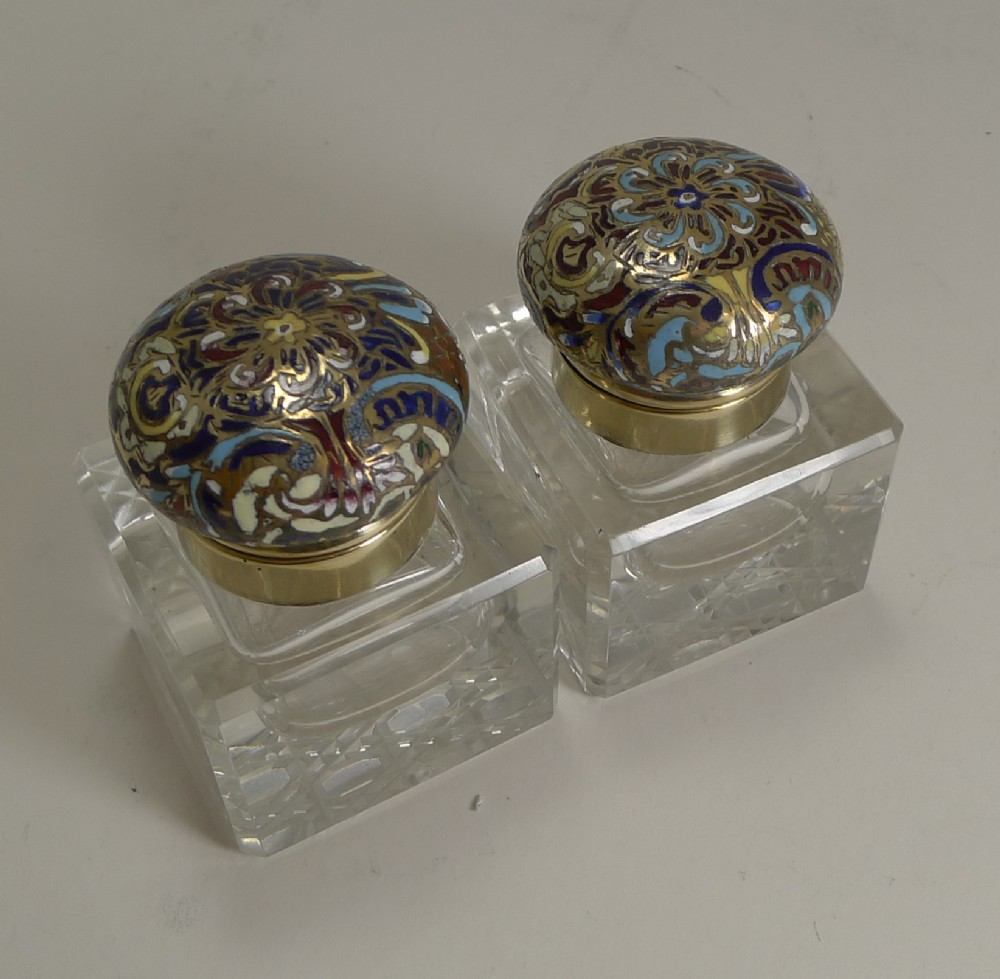 pair unusual antique english inkwells cloisonne enamel c1870