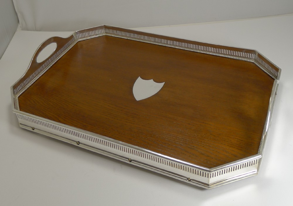 fine quality english oak and silver plate tray by mappin brothers c1890