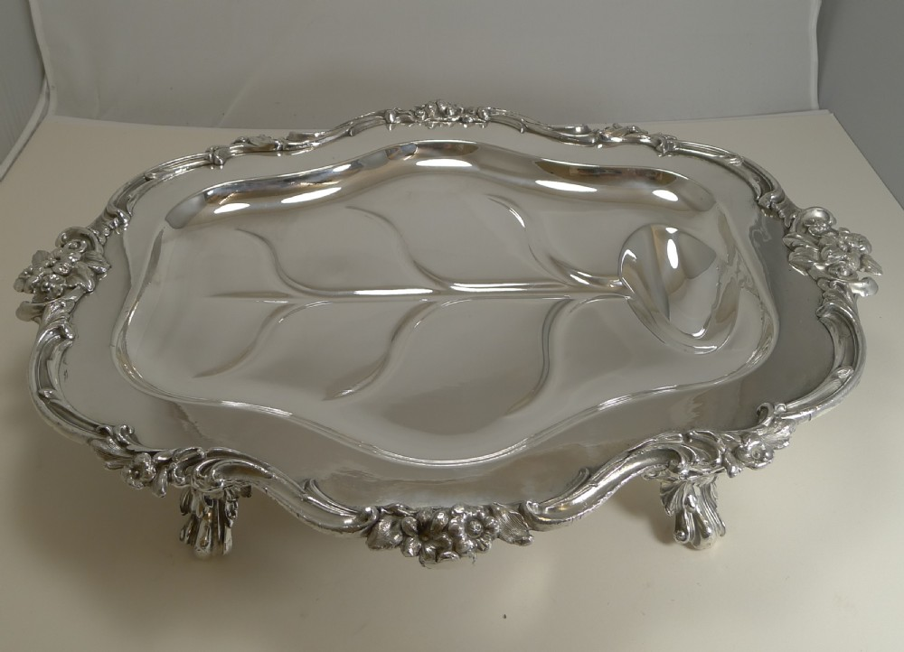 magnificent georgian warming meat serving dish in silver plate c1820