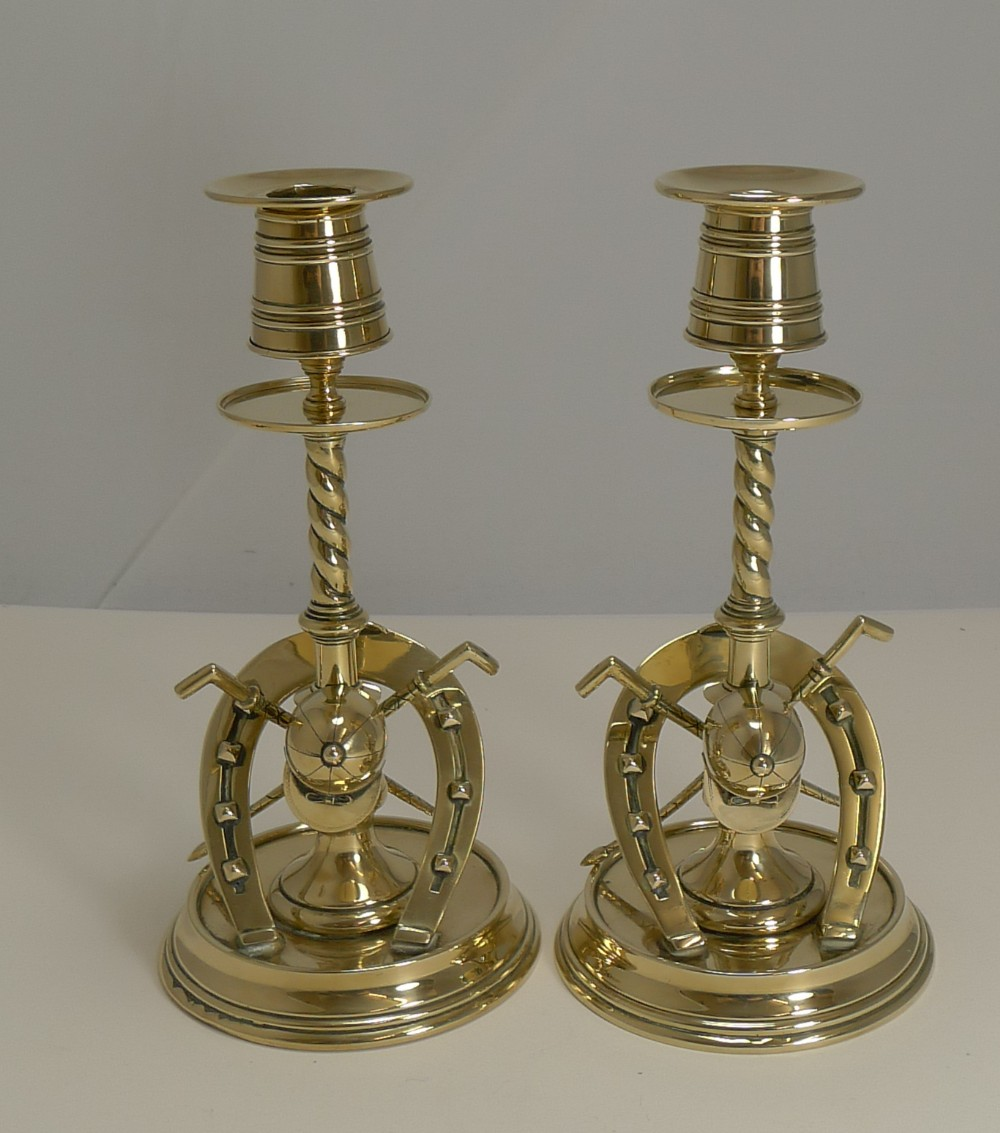 handsome pair antique novelty equestrian candlesticks c1890