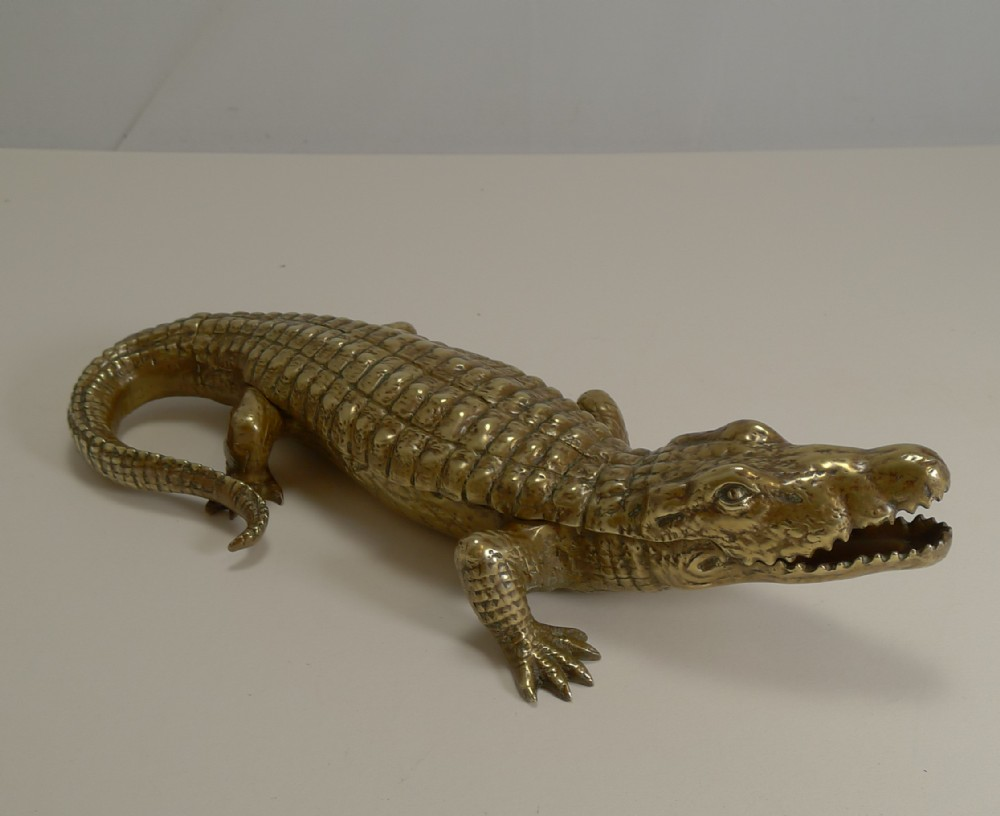 antique english crocodile alligator inkwell desk tidy c1880