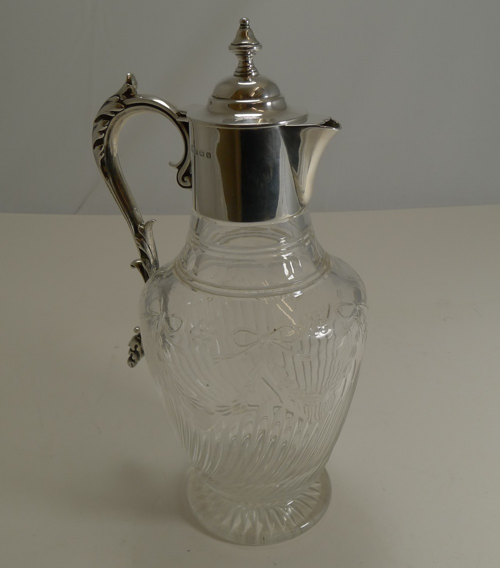 antique english cut crystal and sterling silver claret jug by elkington co