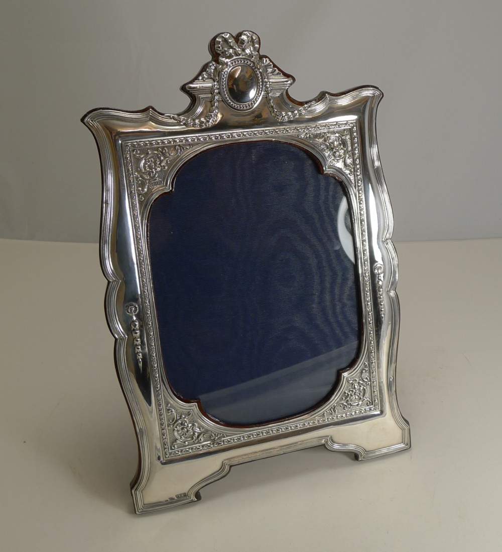 magnificent and grand english sterling silver photograph frame 1910