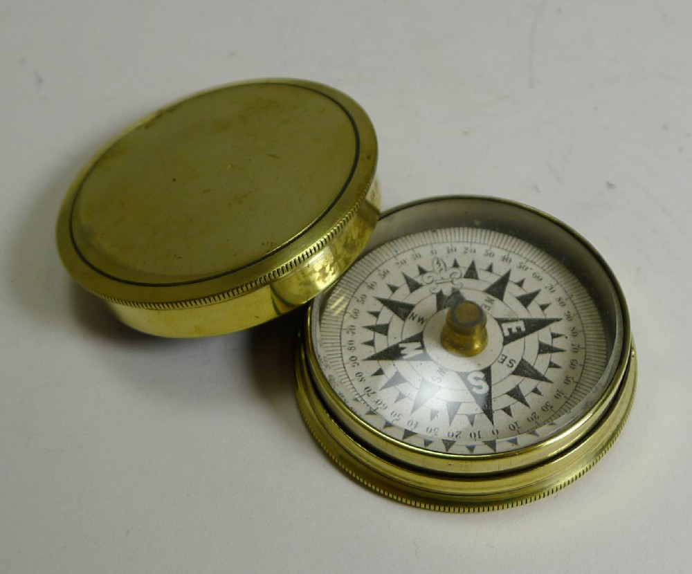 antique english brass cased floating card explorers pocket compass c1880
