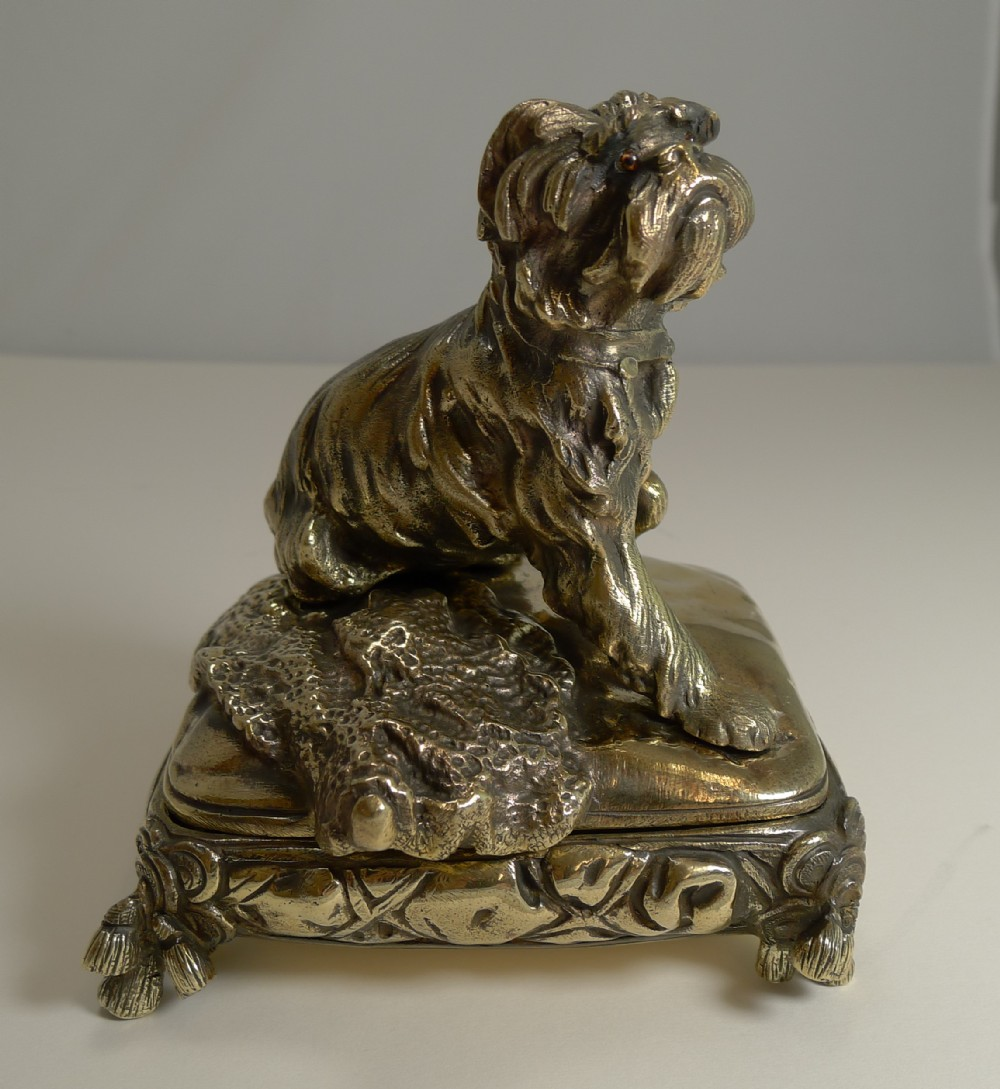 magnificent antique english brass bronze dog jewelry box c1880