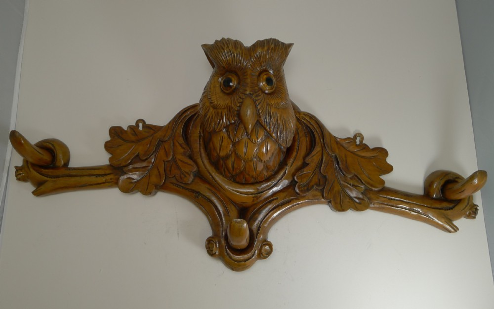 grand black forest hat stand owl with glass eyes c1890