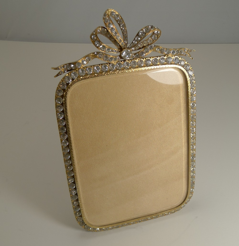glamorous antique french gilded bronze and paste stone photograph frame c1890