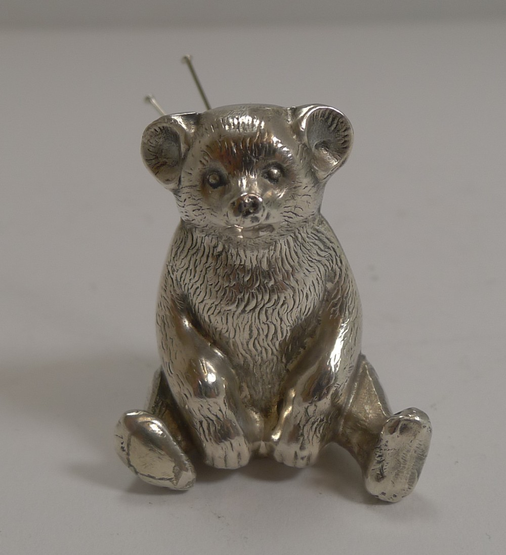 antique english novelty pin cushion in sterling silver teddy bear 1909