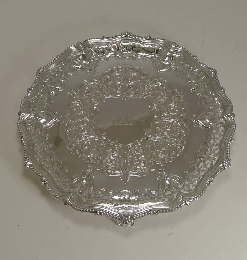 exceptional antique pierced reticulated elkington plated salver tray 1858