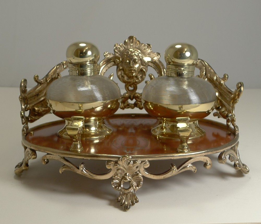 smart and unusual antique english inkstand inkwell c1870