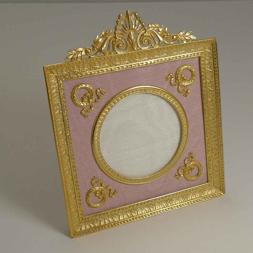 pretty antique french gilded bronze picture frame pink taffeta