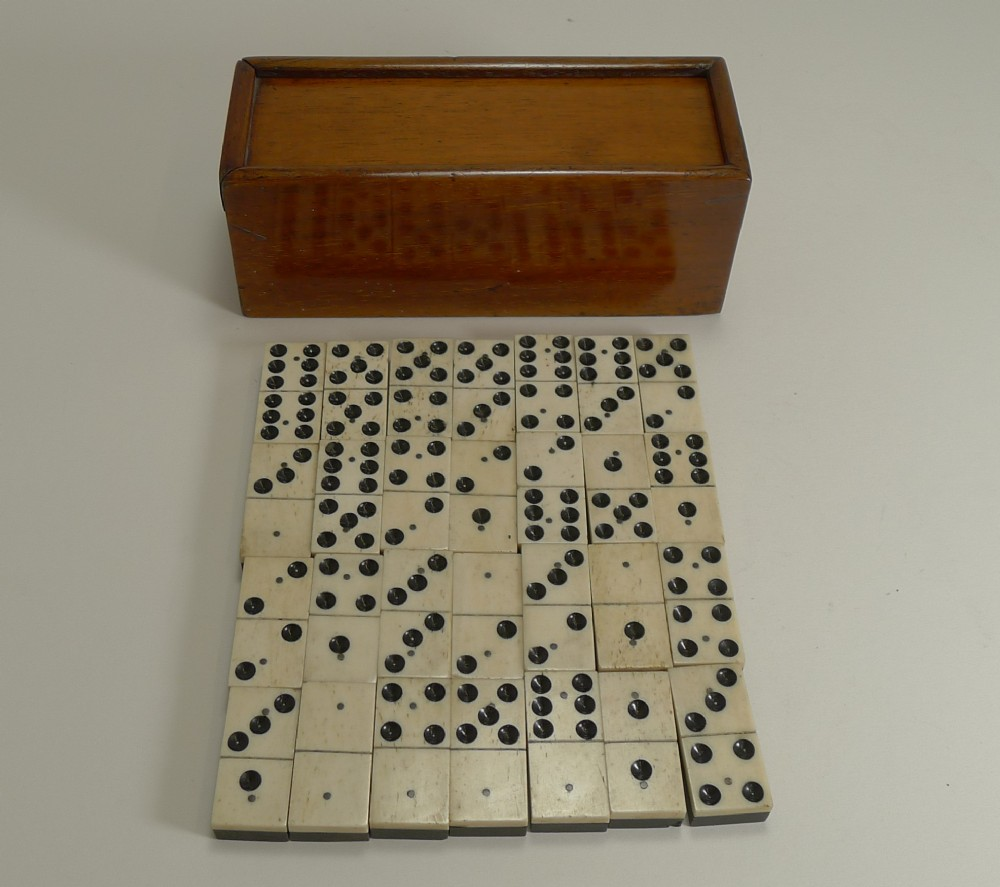 antique boxed set english bone and ebony dominoes c1910