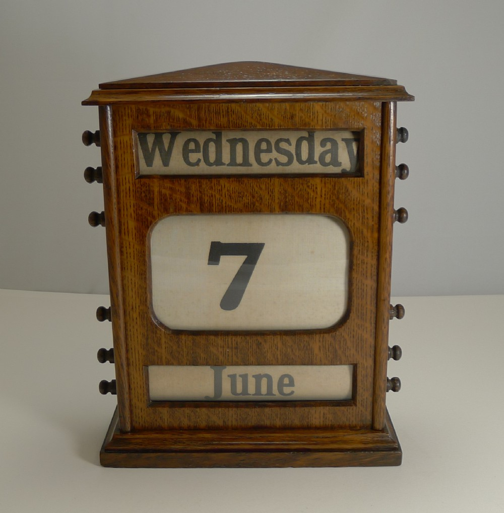 large antique english oak perpetual desk calendar c1900
