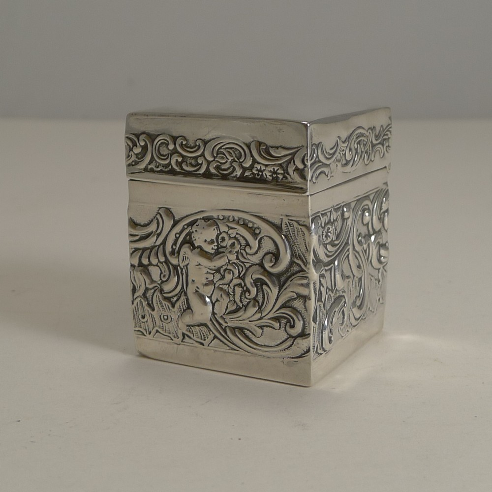 miniature antique english sterling silver playing card box 1899