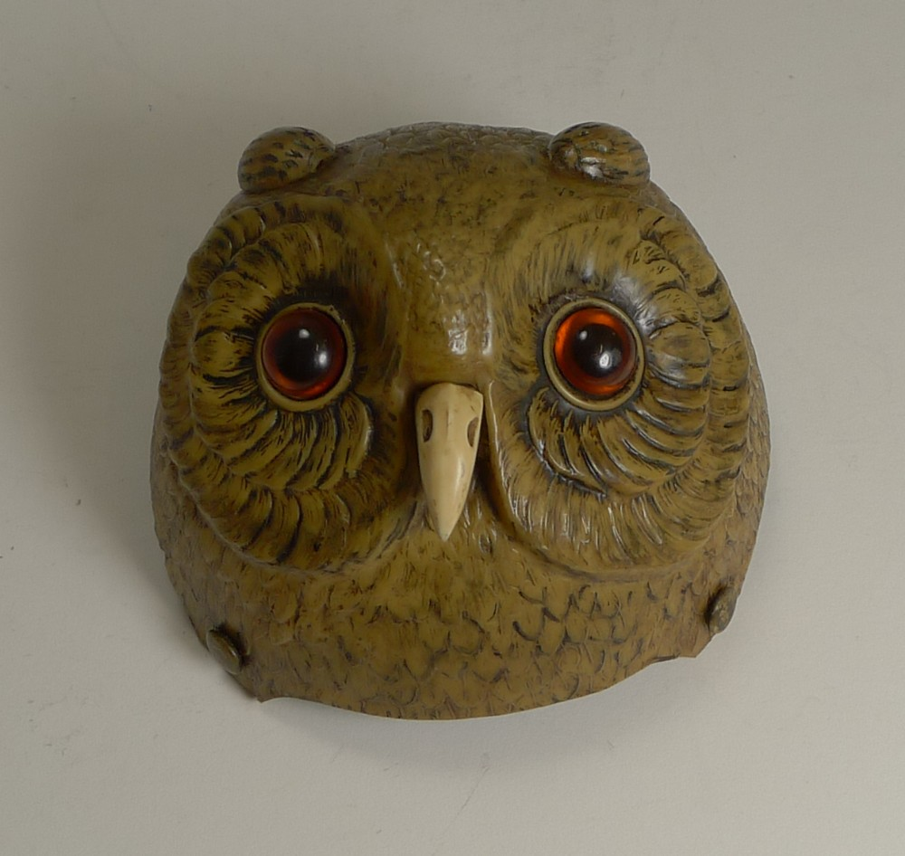 rare novelty figural mechanical bell in early celluloid c1900 owl