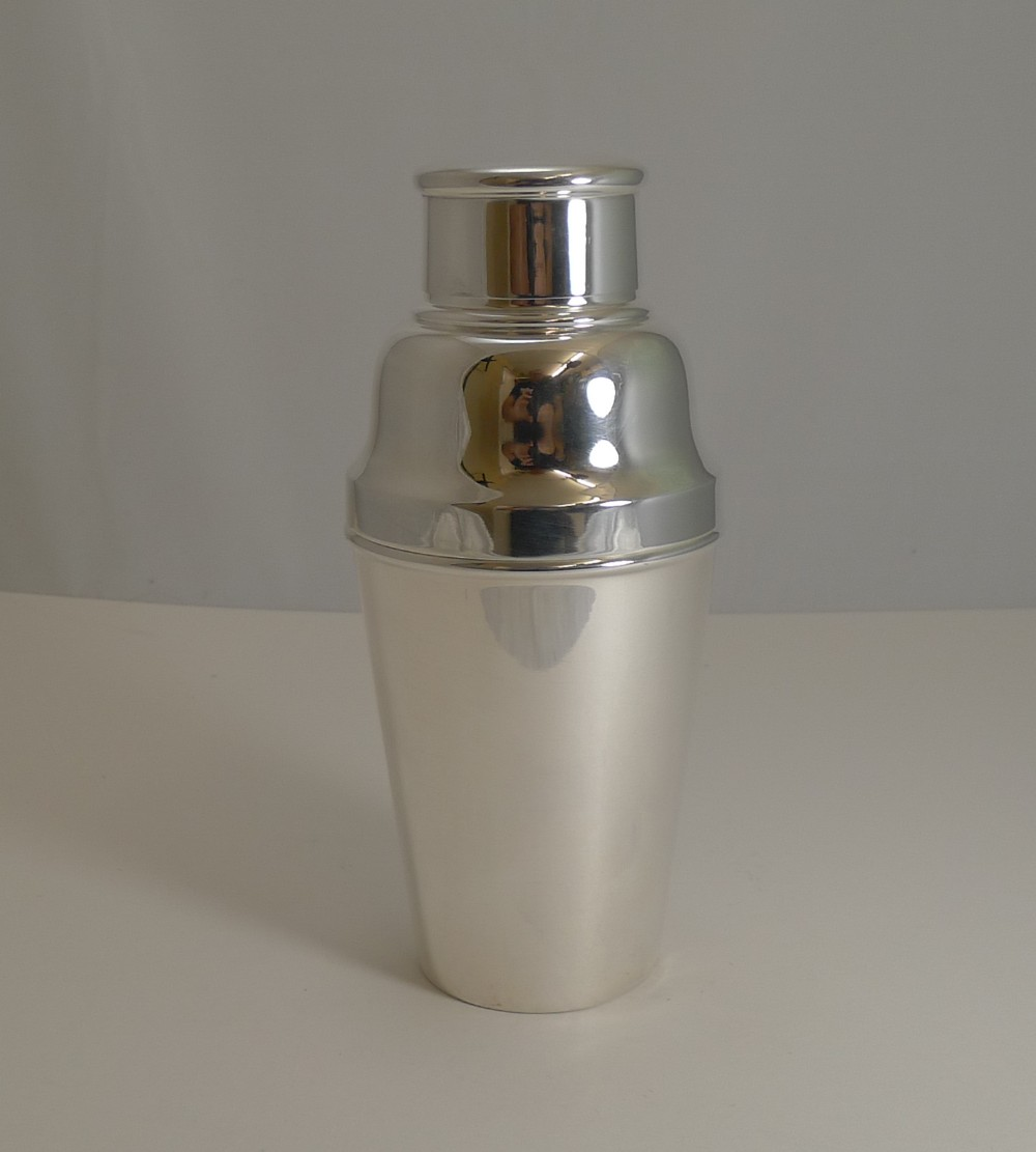 large english art deco silver plate cocktail shaker with ice breaker c1930