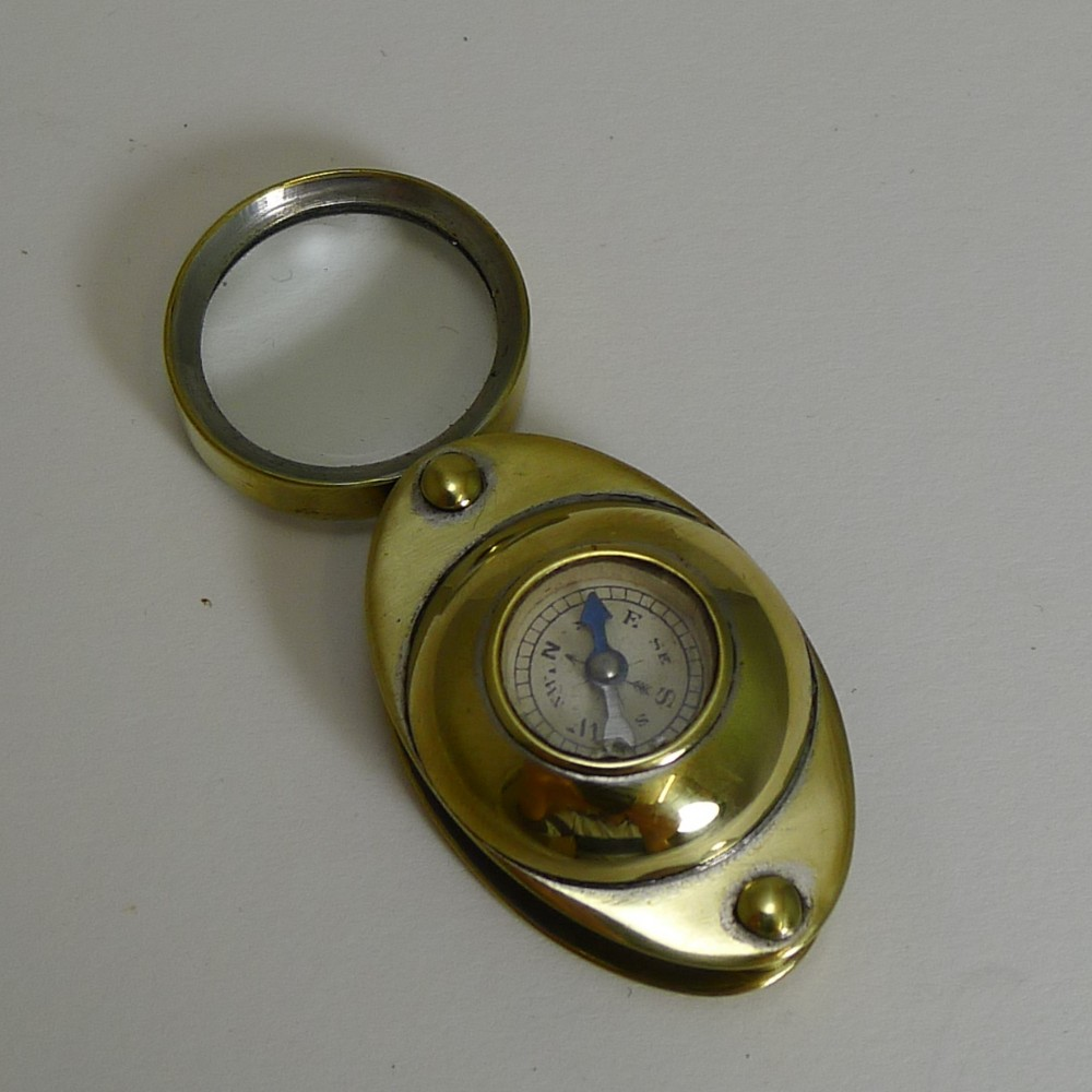 antique c1910 english pocket magnifying glass loop with compass
