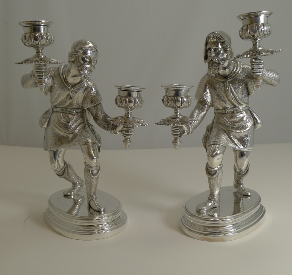 fine quality pair antique english figural hunting candlesticks candelabra c1880