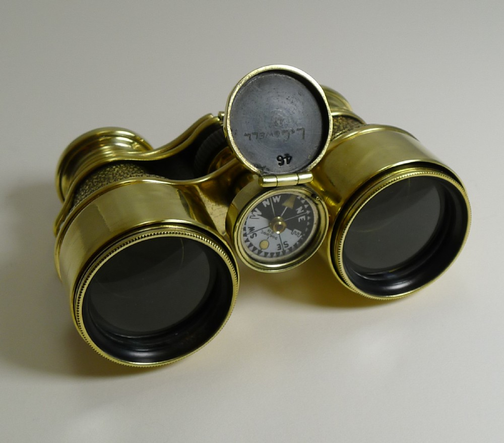 antique english field glasses binoculars by lawrence and mayo with compass