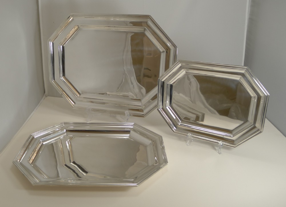 fine set three antique english graduated serving trays or platters by mappin and webb