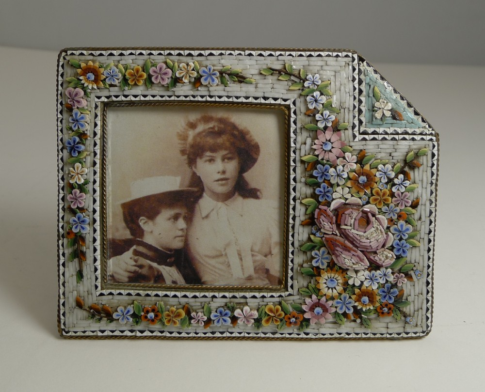 unusual antique venetian micro mosaic photograph picture frame c1900