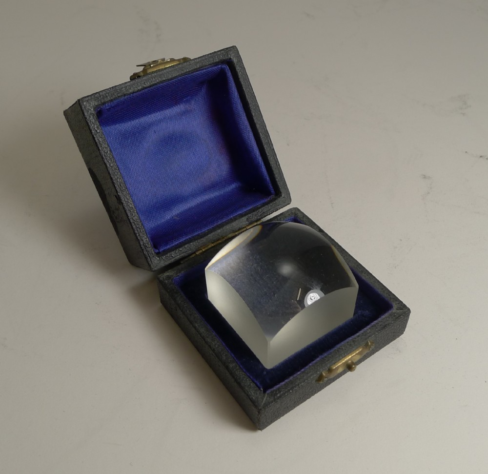 antique english boxed magnifying glass lens c1910
