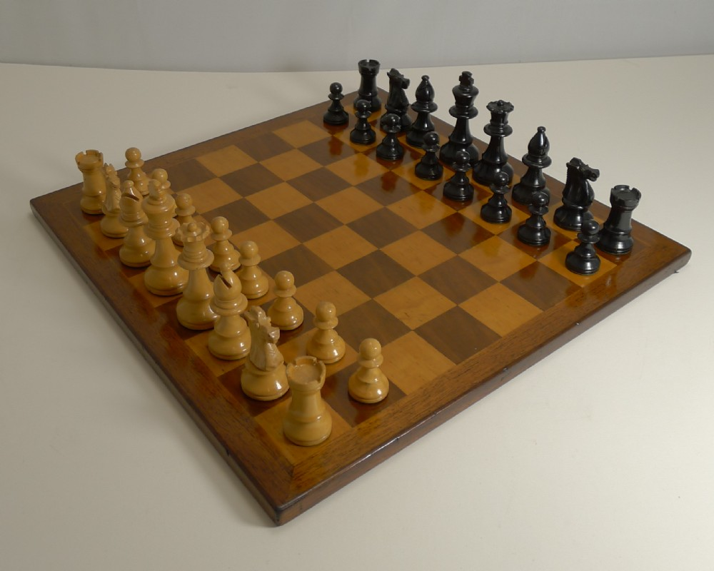 antique english chess board and chess set c1910