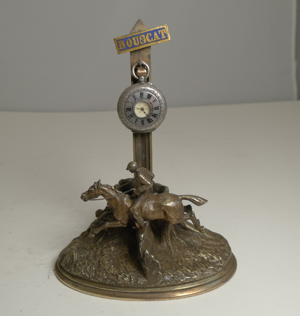 antique french bronze pocket watch stand match strike equestrian horse racing c1900
