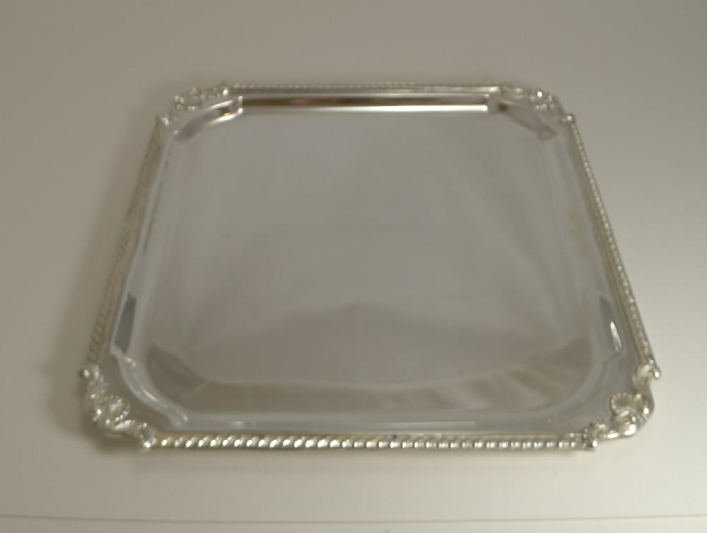 smart large antique english square silver plated cocktail tray salver by mappin and webb