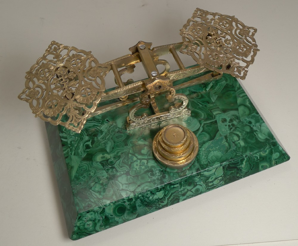 letter postal scale in malachite by sampson mordan c1860