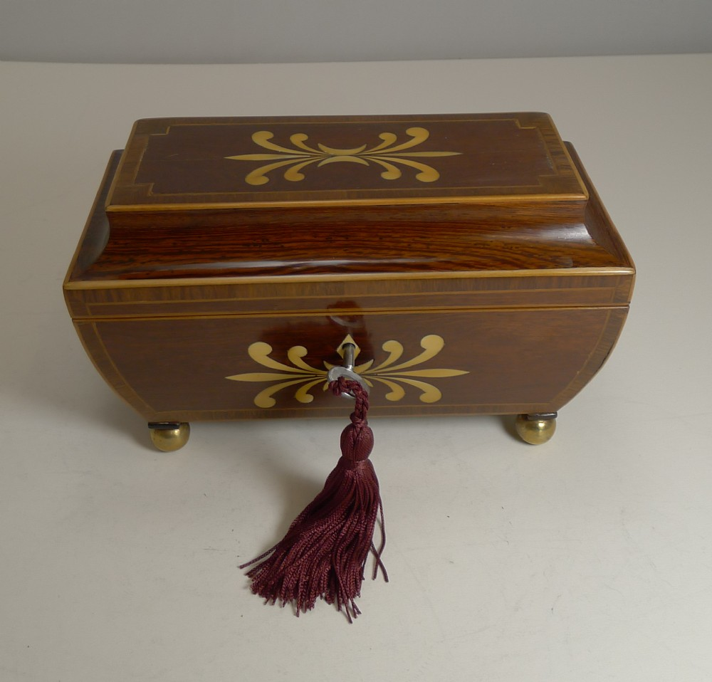 regency jewelley box ivory inlaid padauk c1820