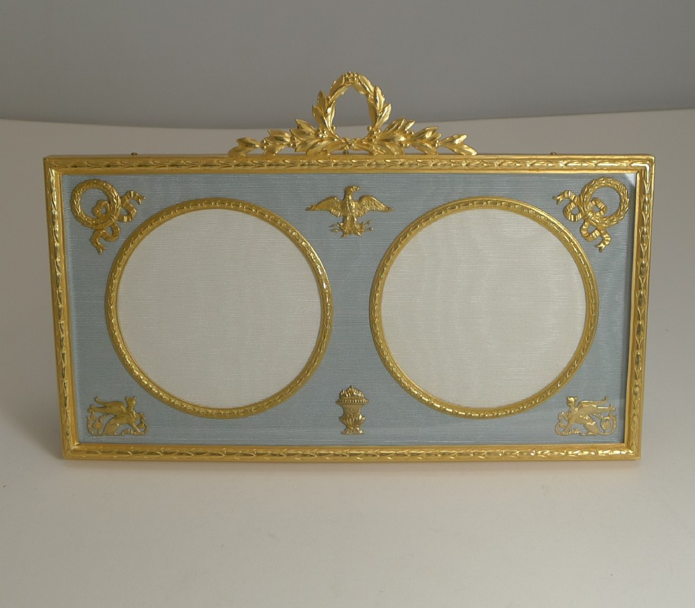 antique french gilded bronze double photograph picture frame c1900