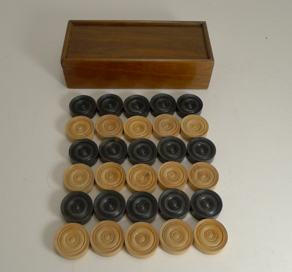 antique english boxed set ebony boxwood draughts checkers backgammon counters c 1900