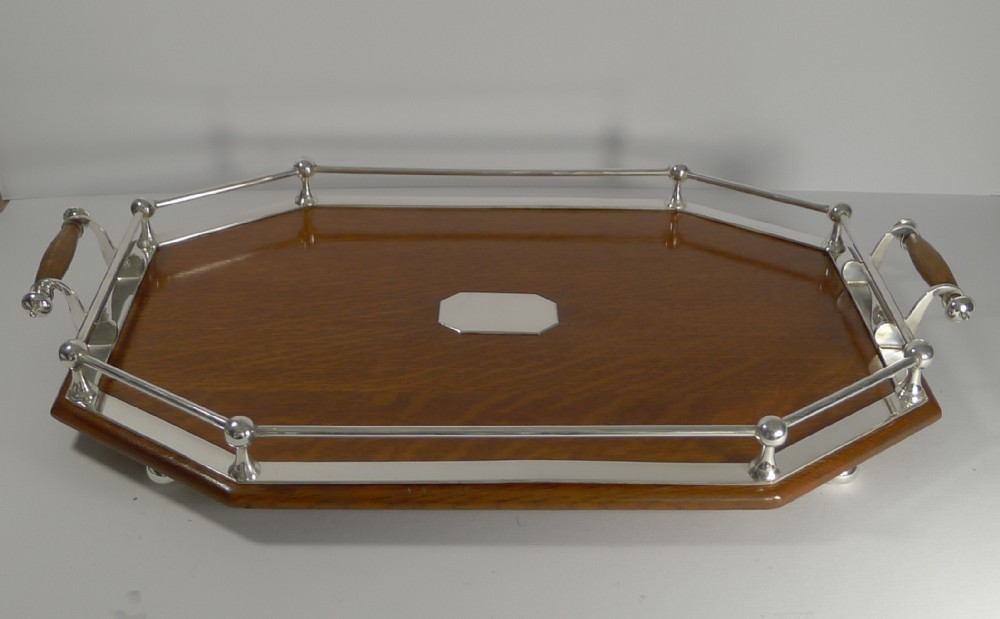 antique english oak and silver plate tray c1900