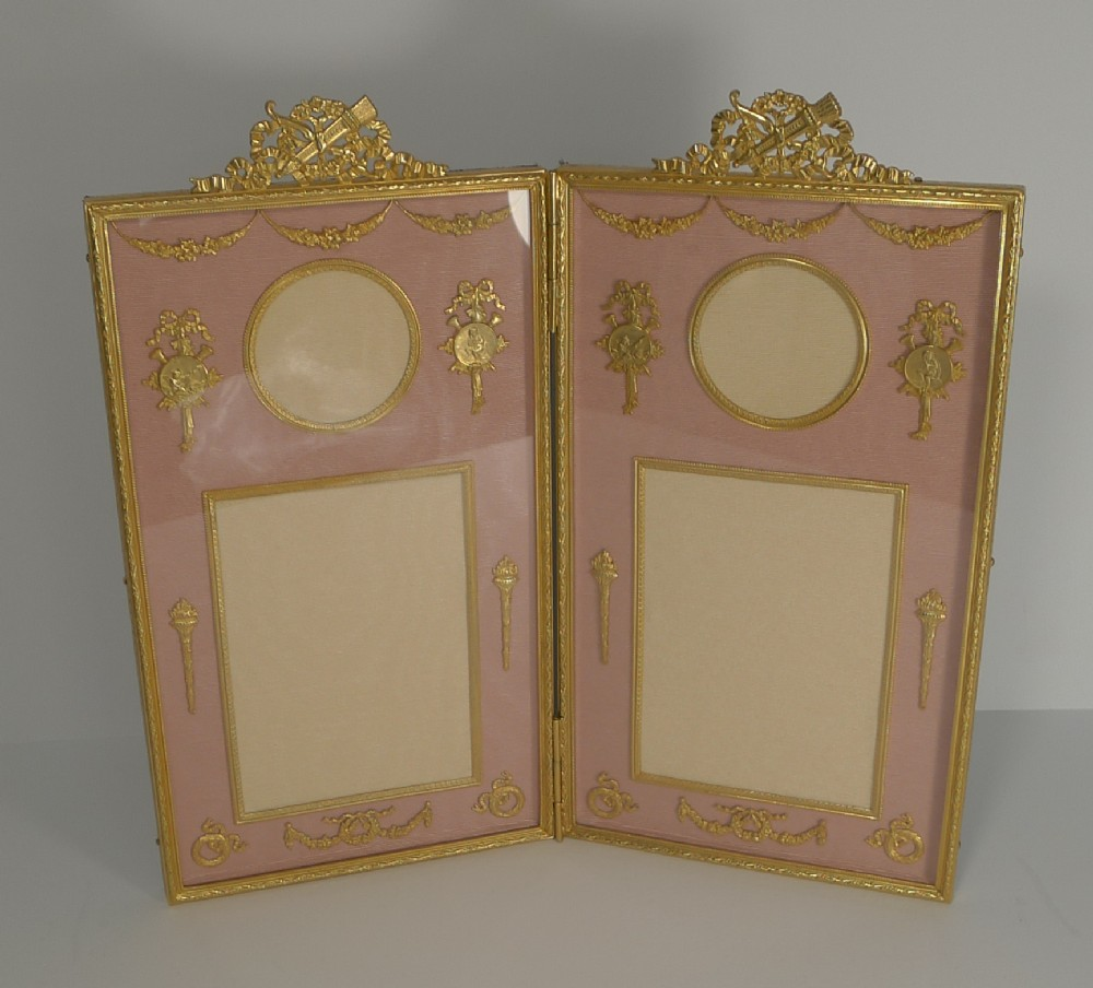 antique french gilded bronze photograph picture frame c1900 cherubs