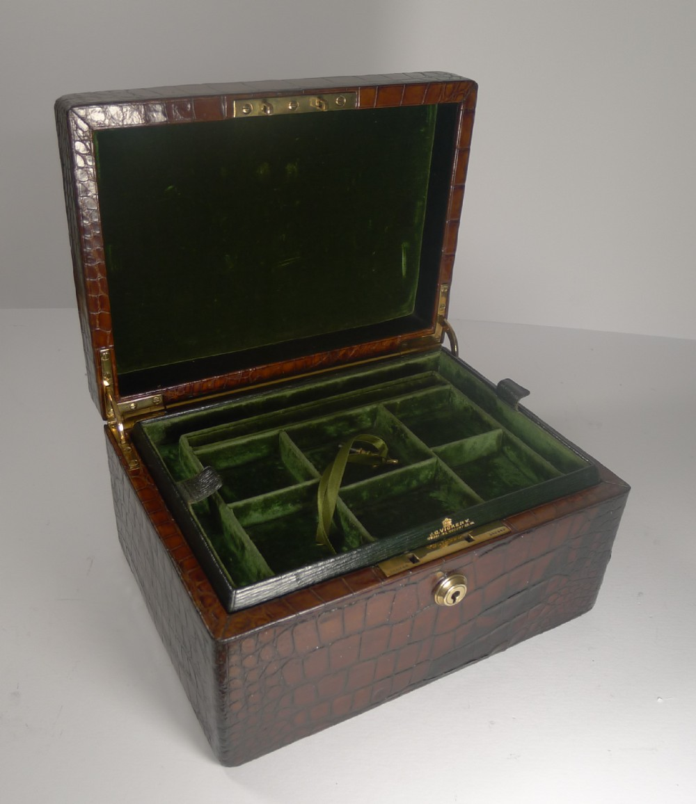 large antique english crocodile jewellery box by vickery c199
