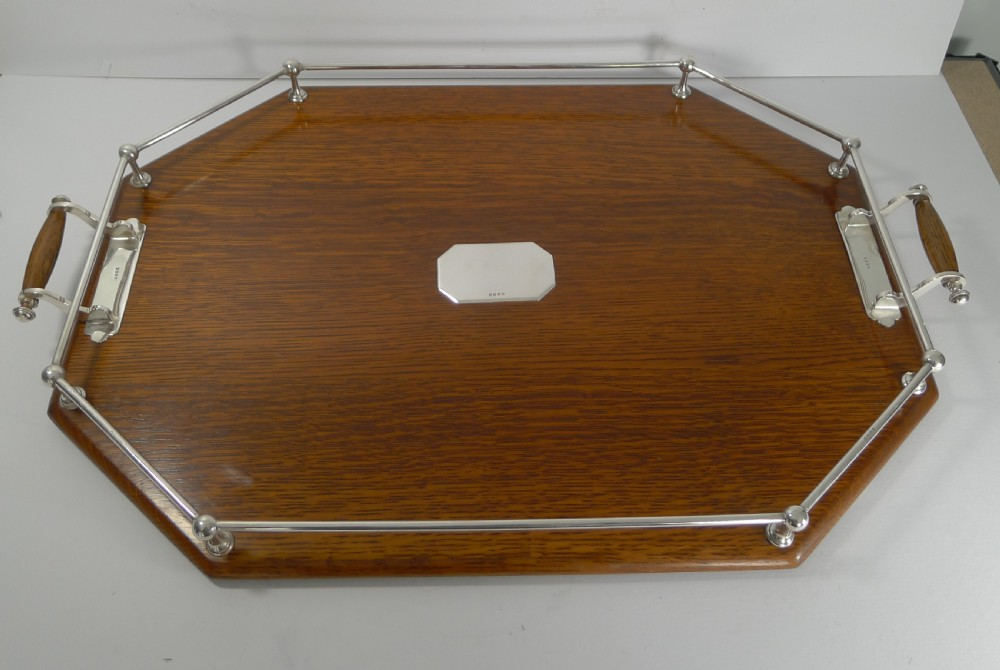 large antique oak silver plated drinks cocktail tray